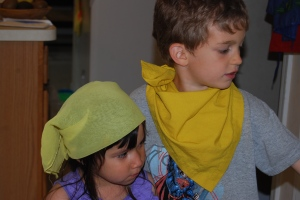 The kids found a few yellow accessories to wear.